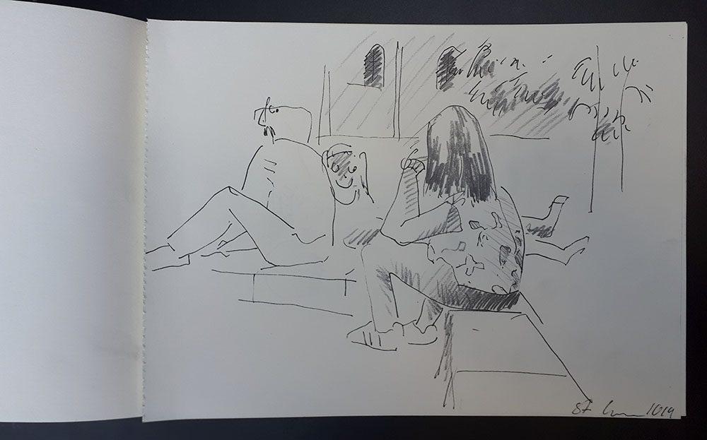 Zeichnung im Rahmen des Process Space Festival 2019, Plovdiv, BG